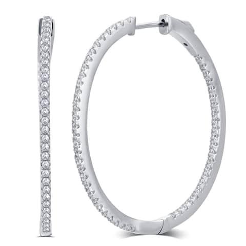 Divina Sterling Silver 1/2 Carat TDW Cubic Zirconia Inside outside Hoop Earring.