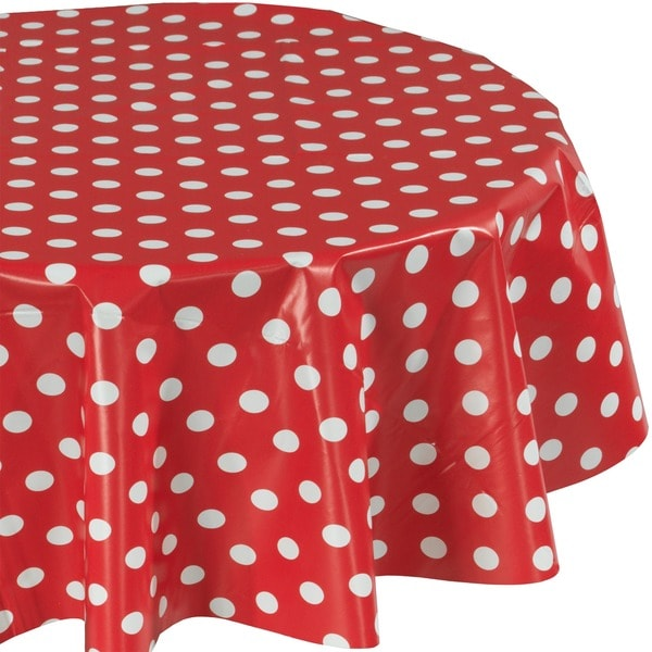 Ottohome Vinyl Red Polka Dot Polyester 55 Inch Indoor Outdoor Tablecloth