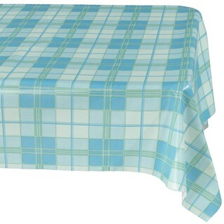 "Ottohome Plaid Vinyl 55-inch x 102-inch Indoor/Outdoor Tablecloth with Non-woven Backing - 55"" x 102"""