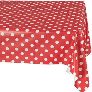 Ottohome Red Polka Vinyl 55-inch x 102-inch Indoor/Outdoor Tablecloth with Non-woven Backing