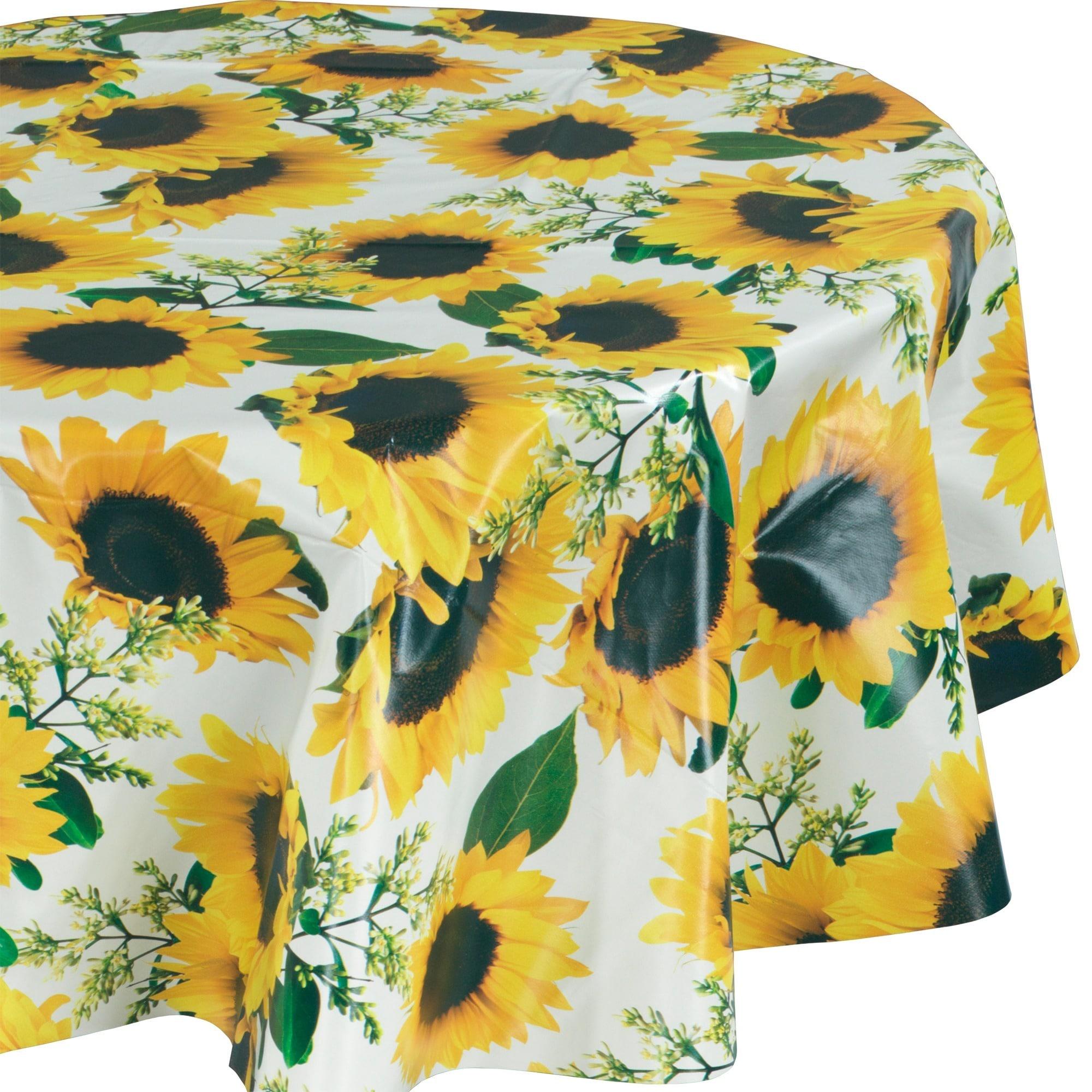 Ottohome Vinyl Sunflower Design 55-inch Round Indoor/Outd...