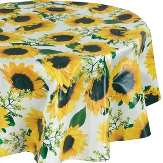 Ottohome Vinyl Sunflower Design 55-inch Round Indoor/Outdoor Tablecloth with Non-woven Backing