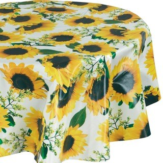 "Ottohome Vinyl Sunflower Design 55-inch Round Indoor/Outdoor Tablecloth with Non-woven Backing - 55"" round"