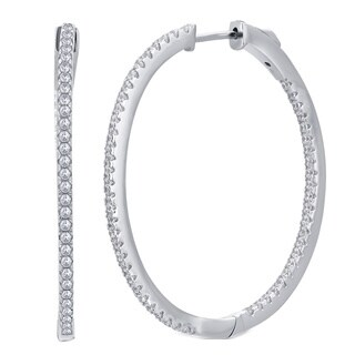 Divina Silver-over-brass 0.5-carat TDW Cubic Zerconia Inside Outside Hoop Earring
