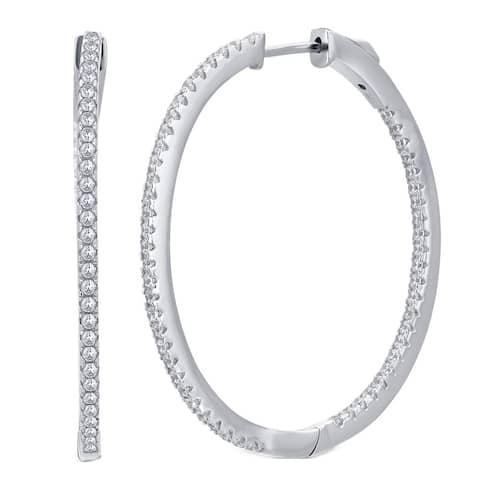 Divina Silver-over-brass 0.5-carat TDW Cubic Zerconia Inside Outside Hoop Earring