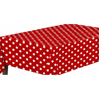 Ottohome Vinyl Red Polka Design Indoor/Outdoor Tablecloth With Non-woven Backing