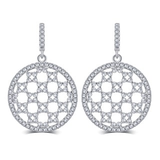 Divina Sterling Silver 5/8-carat Cubic Zerconia Dangle Earrings