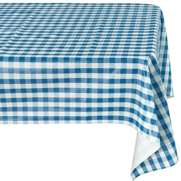Ottohome Blue Checkered Vinyl Indoor/Outdoor Tablecloth with Non ...
