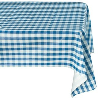 Ottohome Blue Checkered Vinyl Indoor/Outdoor Tablecloth with Non-woven Backing