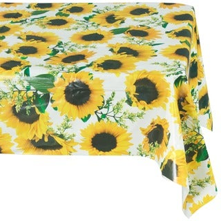 Ottohome Sunflower Design Vinyl Non-woven 55-inch x 70-inch Backing Indoor/ Outdoor Tablecloth