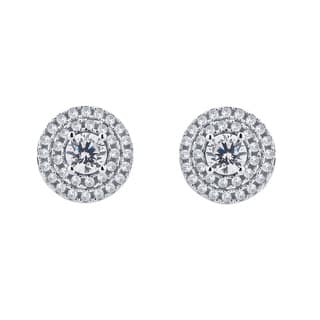 Divina Sterling Silver 1/3 look Cubic Zurconia Halo Stud Earrings|https://ak1.ostkcdn.com/images/products/12074613/P18941578.jpg?impolicy=medium