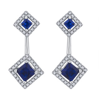 Divina Sterling Silver 1/2-carat TDW Created Blue Sapphire and Cubic Zirconia J-hoop Earrings