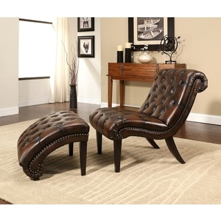 ABBYSON LIVING Encore Brown Tufted Leather Chaise Lounge with Ottoman