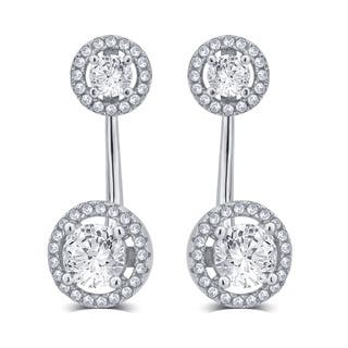 Divina Sterling Silver 5/8 Carat TDW Created White Sapphire and Cubic Zerconia J-hoop Earring|https://ak1.ostkcdn.com/images/products/12074626/P18941580.jpg?impolicy=medium