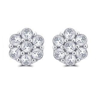 Divina Sterling Silver 3/8-carat TDW Cubic Zirconia Flower Stud Earrings