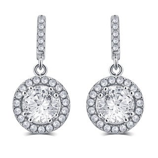 Divina Sterling Silver 1.00-carat TDW Cubic Zirconia Dangle Earrings
