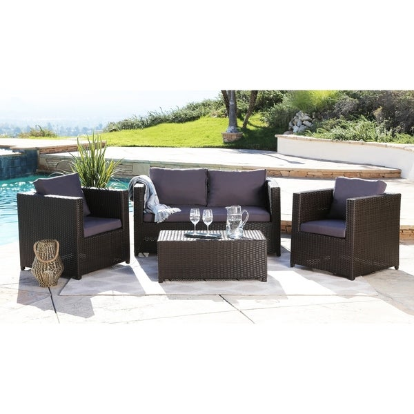 dbc57c74d0d5e8 Shop Abbyson Colette Grey Outdoor Wicker 4 Piece Seating Set - On ...