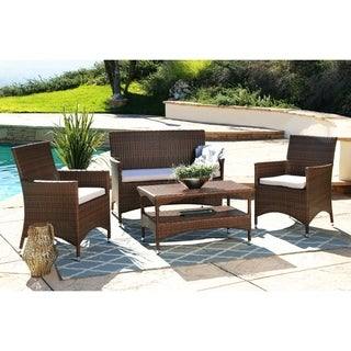 ABBYSON LIVING Irving Wicker Outdoor 4-piece Chat Set with Cushions