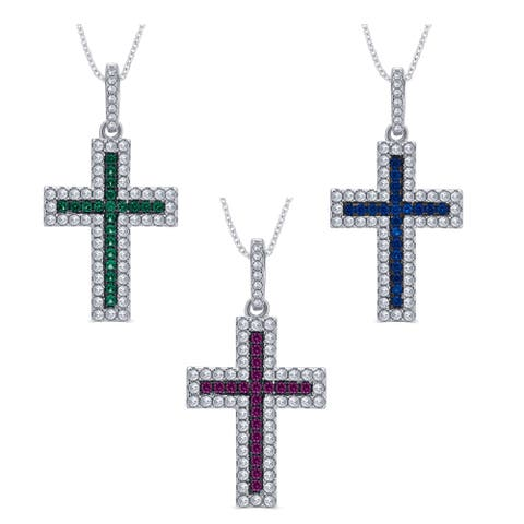 Divina Sterling Silver 1/4-carat Cubic Zirconia and Created Gemstone Cross Pendant Necklace