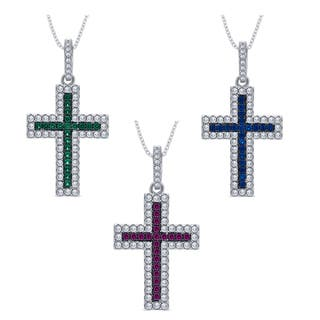 Divina Sterling Silver 1/4-carat Cubic Zirconia and Created Gemstone Cross Pendant Necklace|https://ak1.ostkcdn.com/images/products/12074653/P18941610.jpg?impolicy=medium