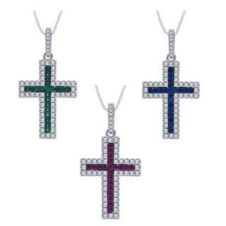 Divina Sterling Silver 1/4-carat Cubic Zirconia and Created Gemstone Cross Pendant Necklace (3 options available)