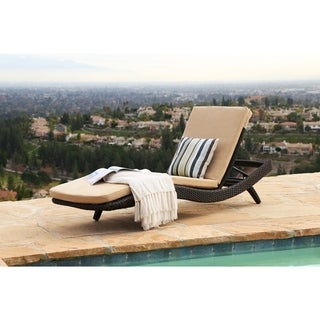 ABBYSON LIVING Marcelle Espresso Wicker Outdoor Adjustable Chaise Lounge with Cushion
