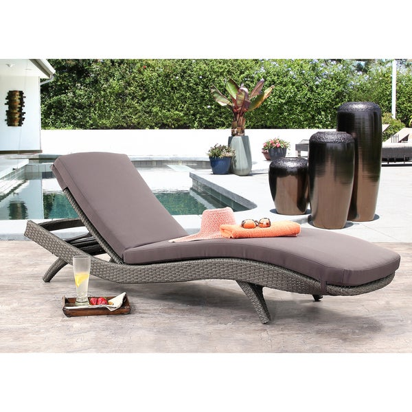 Abbyson Marcelle Grey Outdoor Wicker Chaise Lounge Part 83