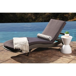 Abbyson Marcelle Grey Outdoor Wicker Chaise Lounge