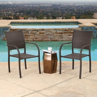 Abbyson Seaton Outdoor Wicker Club Chairs (Set of 2)