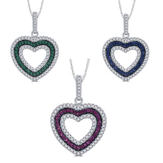 Divina Sterling Silver 1/4-carat TDW Cubic Zirconia and Created Gemstone Heart Pendant Necklace|https://ak1.ostkcdn.com/images/products/12074667/P18941611.jpg?impolicy=medium