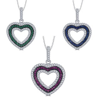 Divina Sterling Silver 1/4-carat TDW Cubic Zirconia and Created Gemstone Heart Pendant Necklace