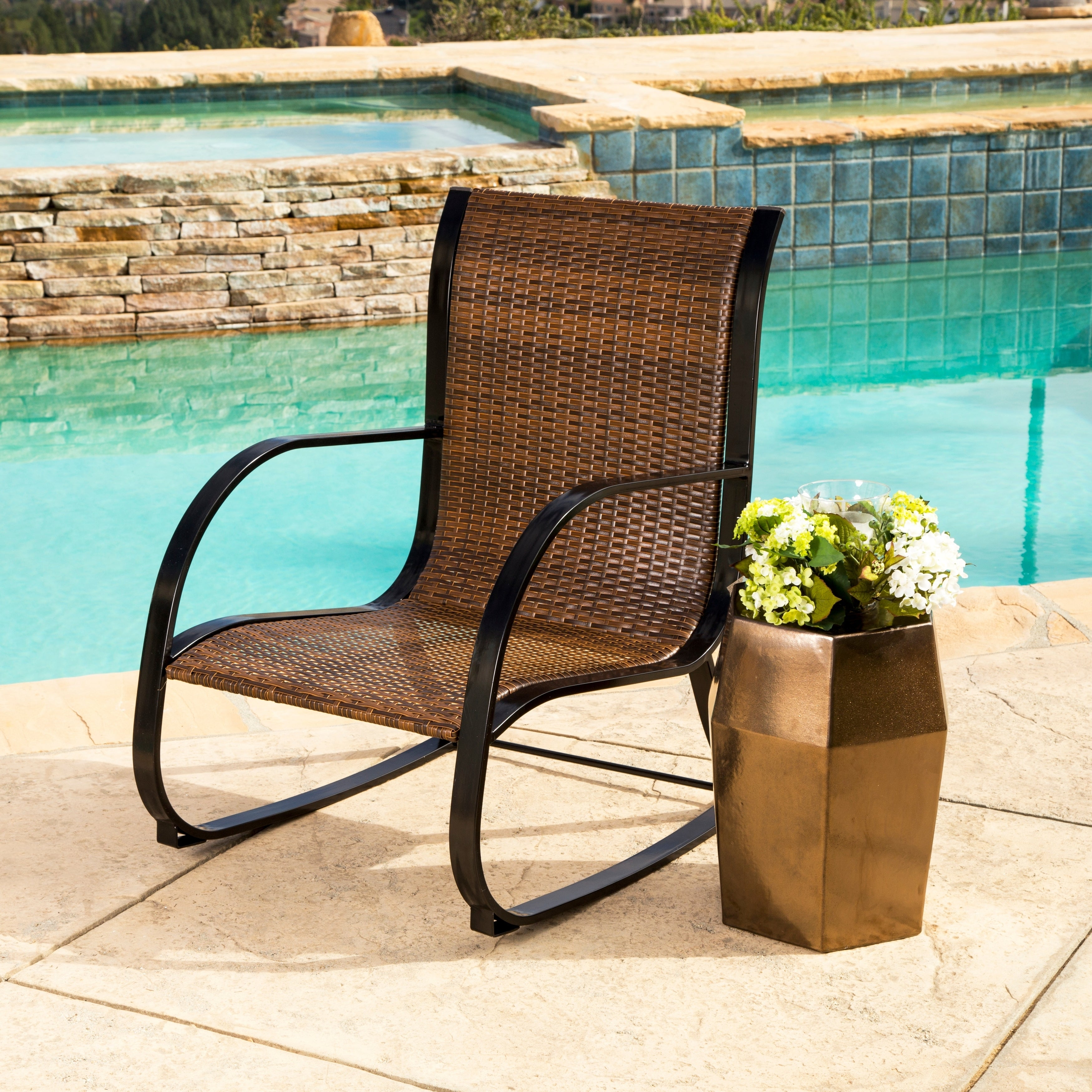 pretty nice 40a87 b1f5c Abbyson Gabriela Brown Outdoor Wicker Rocking Chair
