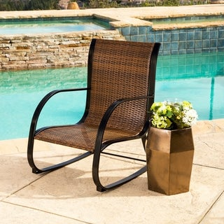 ABBYSON LIVING Gabriela Brown Wicker Outdoor Rocking Chair