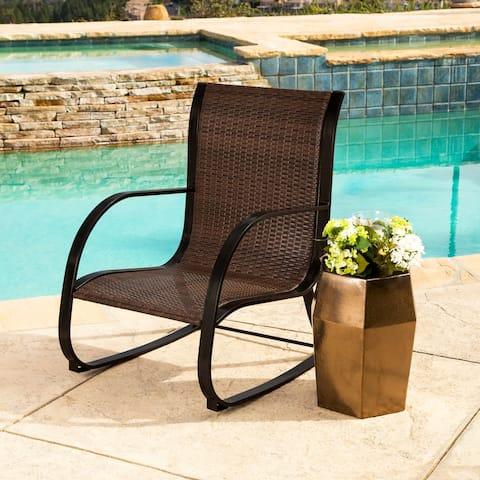 Abbyson Gabriela Espresso Outdoor Wicker Rocking Chair