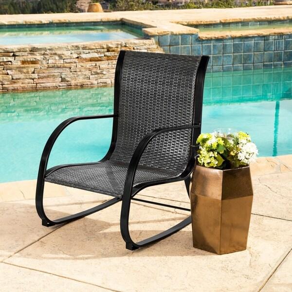 shop abbyson gabriela black outdoor wicker rocking chair on sale