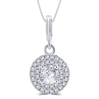 Divina Sterling Silver 1/4ct TDW Cubic Zirconia Round Halo 18-inch Pendant Necklace
