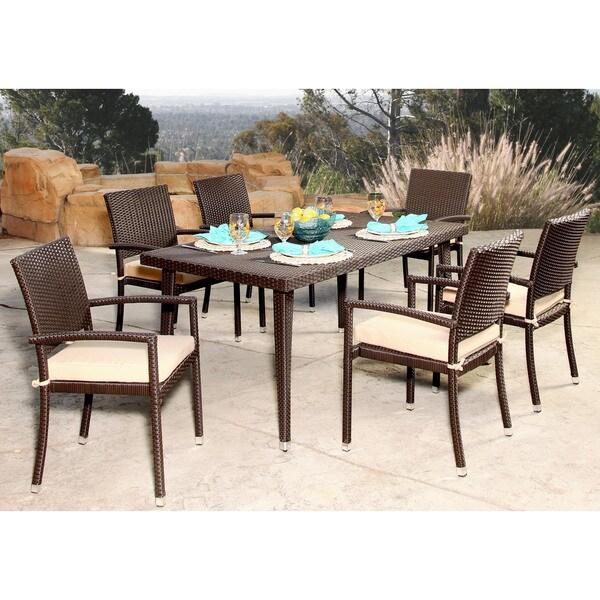 Abbyson Harlan Outdoor Wicker 7 Piece Dining Set