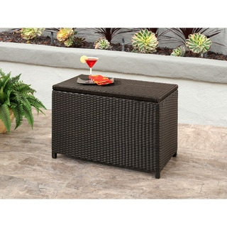 ABBYSON LIVING Brown Iron and Wicker Provence Outdoor Storage Ottoman