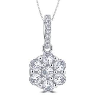 Divina Sterling Silver 1/3 Carat TDW Cubic Zirconia Round Flower Pendant Necklace