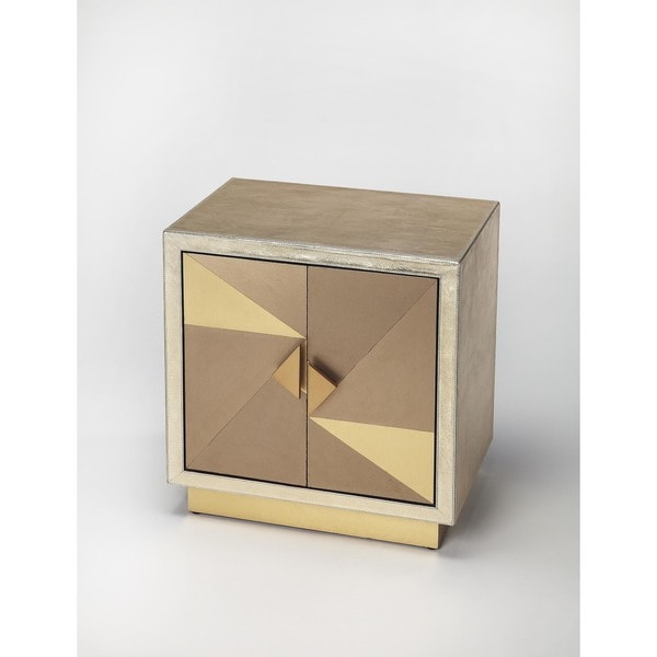 Butler 'Xavier' Gold Leather/Aluminum Accent Cabinet