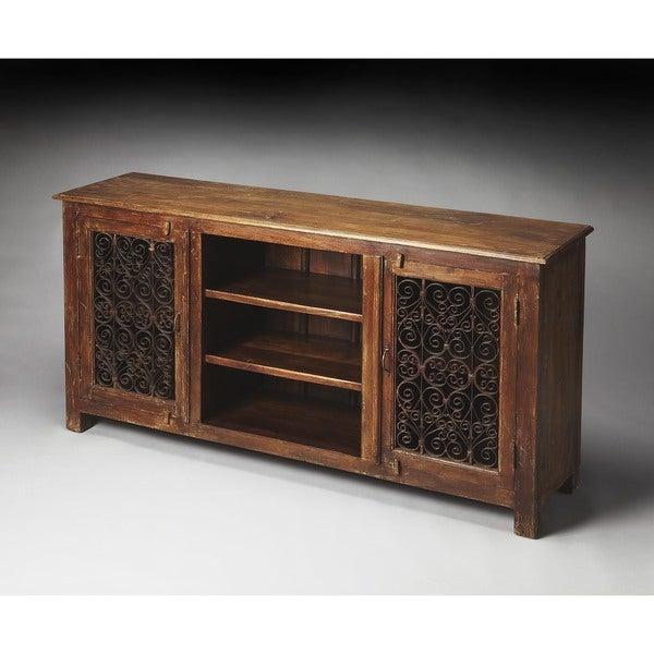 Superbe Handmade Butler Hacienda Rustic Console Cabinet (India)