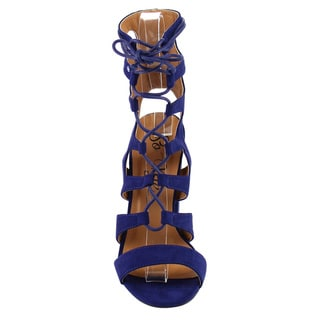 So Me IB82 Women's Lace-up Strappy Cage Chunky Heel Sandals