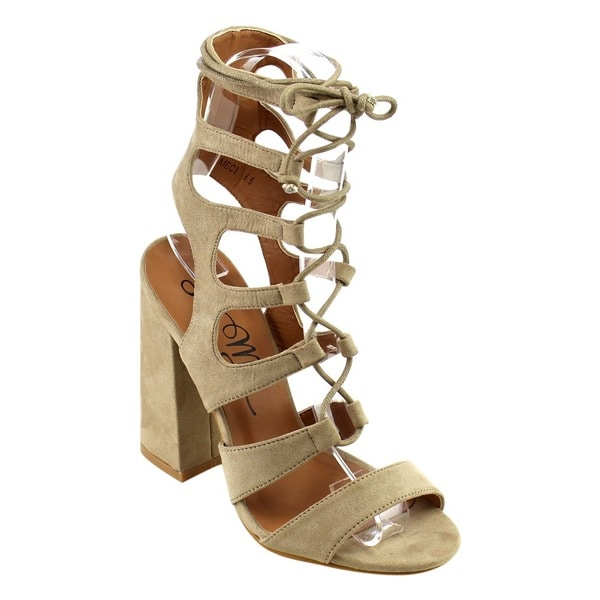 230e178575ffdc Shop So Me IB82 Women s Lace-up Strappy Cage Chunky Heel Sandals ...