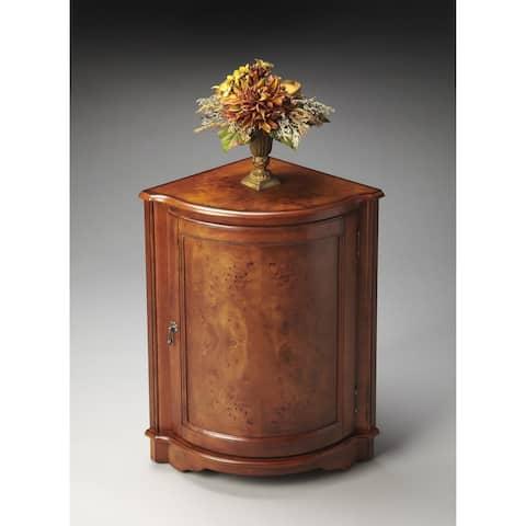 Handmade Durham Olive Ash Burl Corner Cabinet