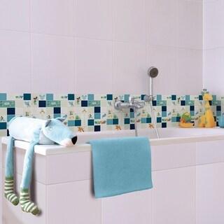 Disney 11.75x11.75-inch Classic Aqua Glass Mosaic Wall Tile