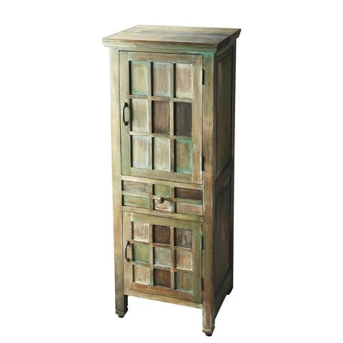 Butler Transitional Solid Acacia Wood Accent Cabinet in Artifact Finish - Assorted - Multi