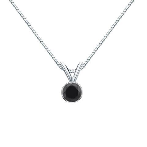 Auriya 14k Gold 1/4ctw Solitaire Black Diamond Necklace Bezel-set