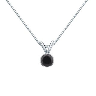 Auriya 14k Gold 1/4ct TDW Round Black Diamond Bezel Solitaire Necklace
