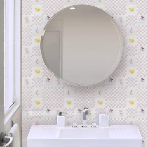 Disney 11.75x11.75-inch Baby Pink Glass Mosaic Wall Tile