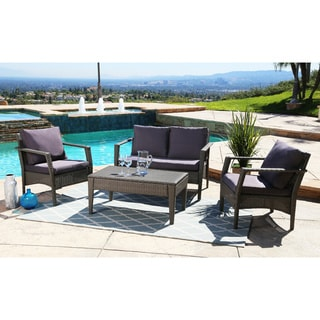 ABBYSON LIVING Venetian Grey Wicker Outdoor 4-piece Sofa Set with Cushions
